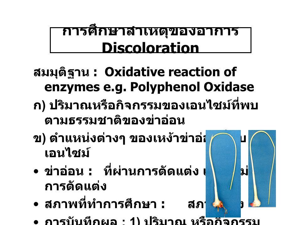 การศึกษาสาเหตุของอาการ Discoloration สมมุติฐาน : Oxidative reaction of enzymes e.g.