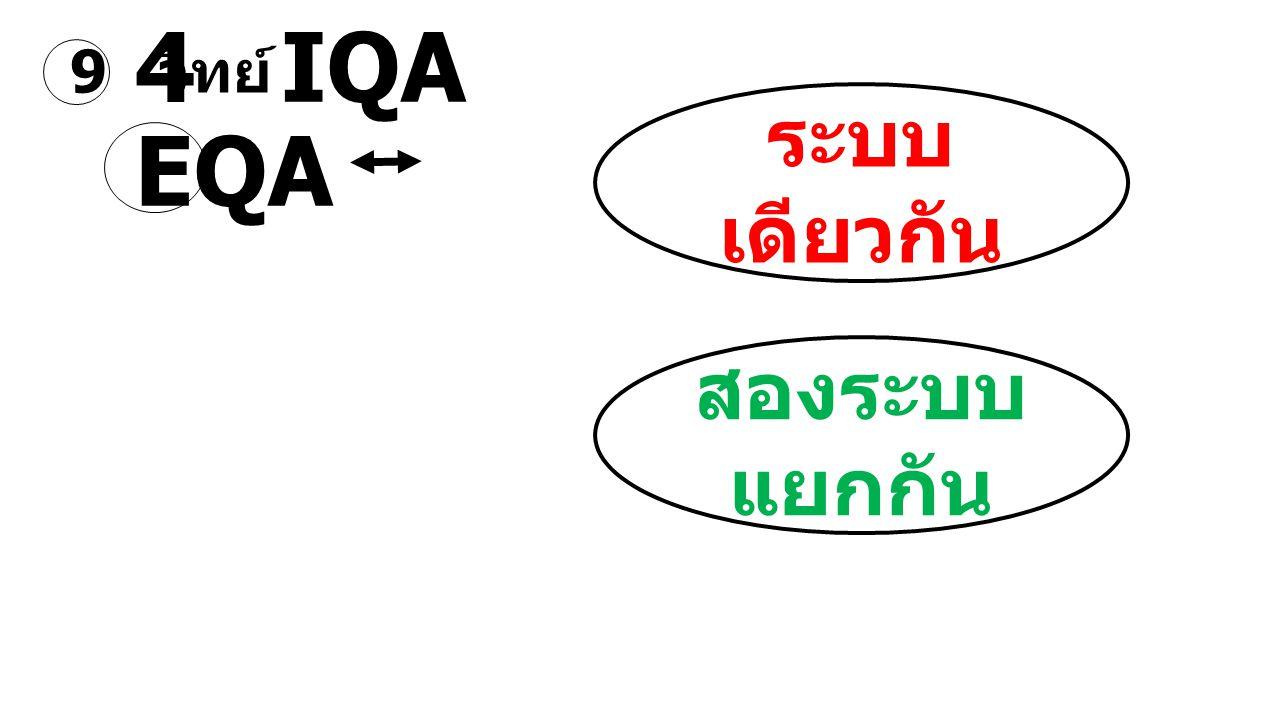 4 IQA EQA ระบบ เดียวกัน สองระบบ แยกกัน 9 วิทย์