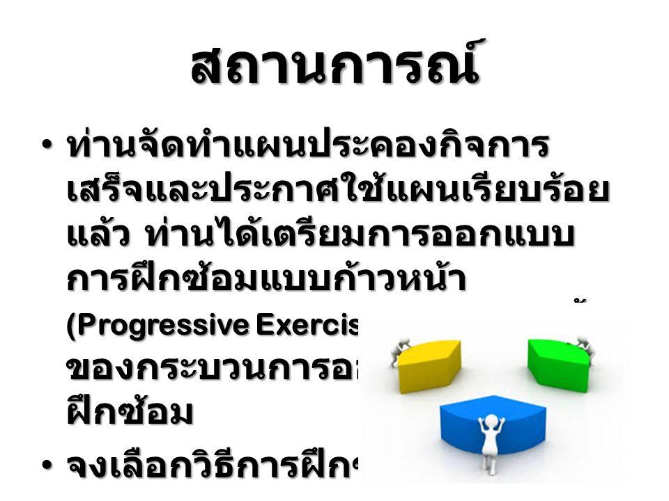 สถานการณ์ ท่านจัดทำแผนประคองกิจการ เสร็จและประกาศใช้แผนเรียบร้อย แล้ว ท่านได้เตรียมการออกแบบ การฝึกซ้อมแบบก้าวหน้า (Progressive Exercise) ตามลำดับขั้น
