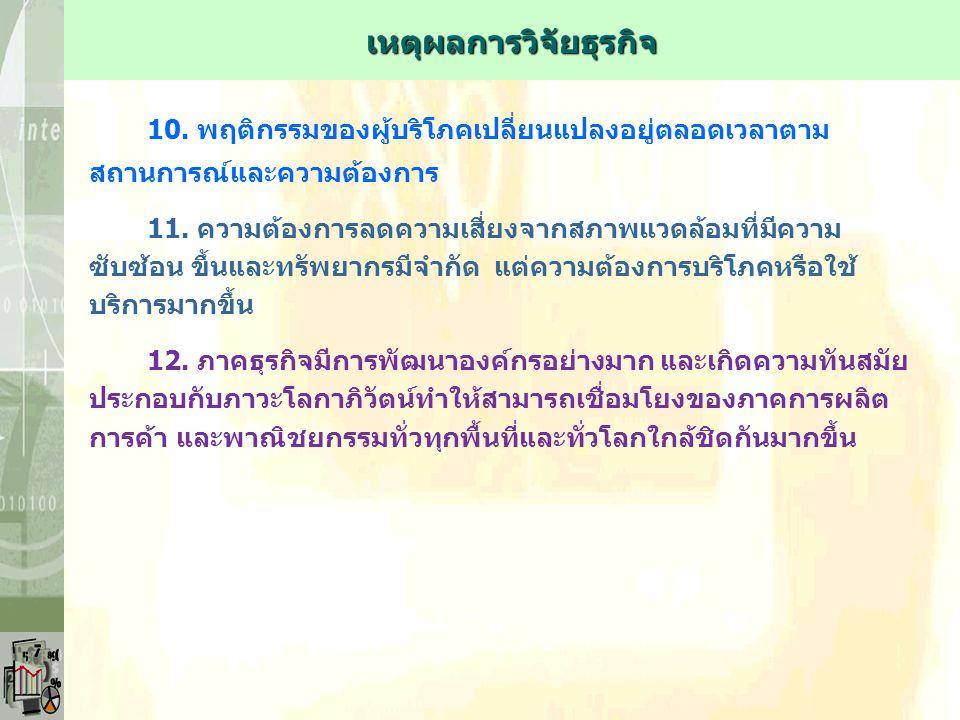 10.พฤติกรรมของผู้บริโภคเปลี่ยนแปลงอยู่ตลอดเวลาตาม สถานการณ์และความต้องการ 11.