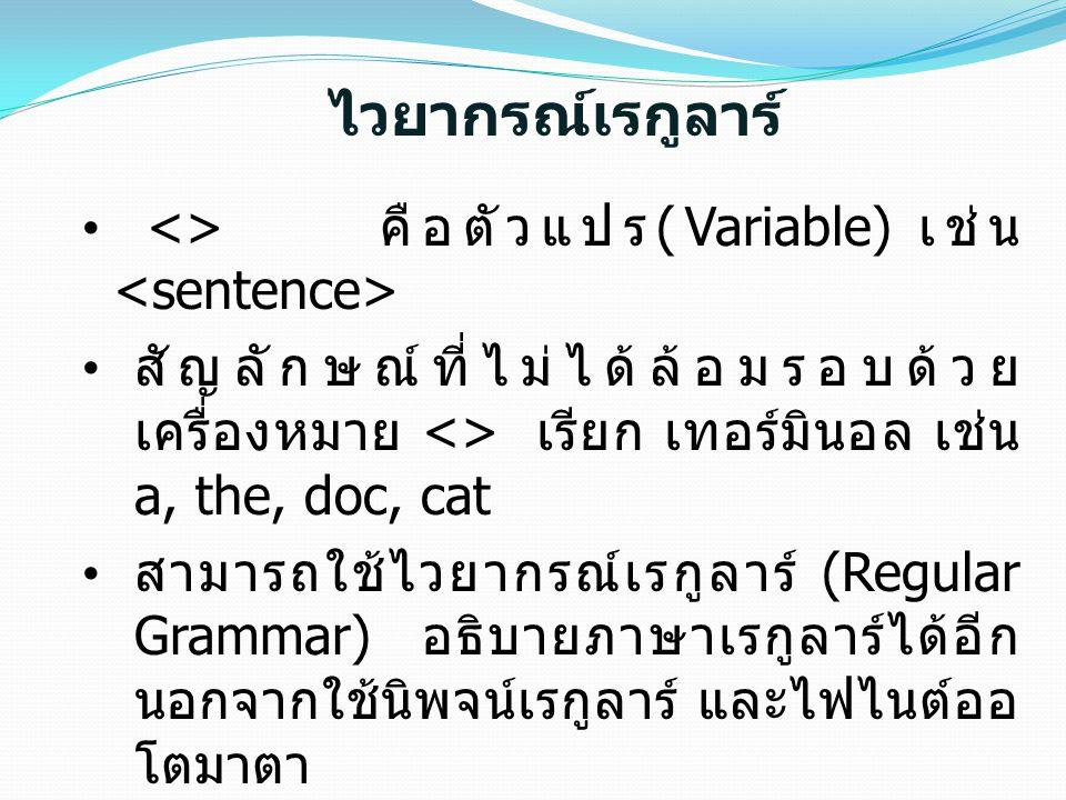 ไวยากรณ์เรกูลาร์ <> คือตัวแปร (Variable) เช่น สัญลักษณ์ที่ไม่ได้ล้อมรอบด้วย เครื่องหมาย <> เรียก เทอร์มินอล เช่น a, the, doc, cat สามารถใช้ไวยากรณ์เรก