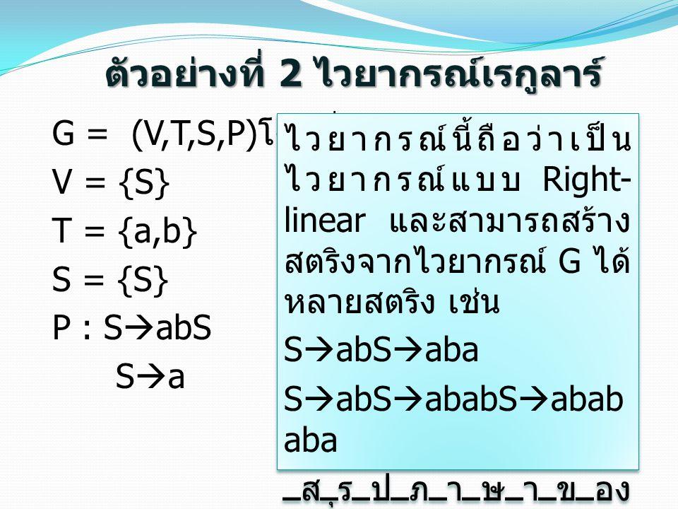 ตัวอย่างที่ 2 ไวยากรณ์เรกูลาร์ G = (V,T,S,P) โดยที่ V = {S} T = {a,b} S = {S} P : S  abS S  a