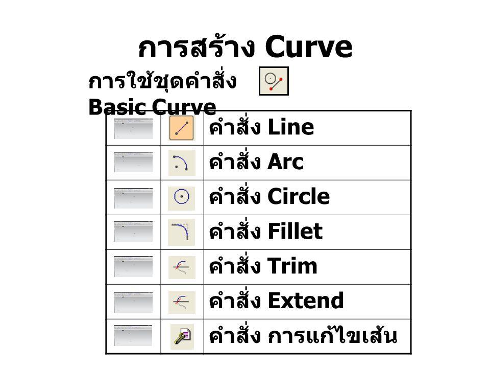 การสร้าง Curve คำสั่ง Line คำสั่ง Arc คำสั่ง Circle คำสั่ง Fillet คำสั่ง Trim คำสั่ง Extend คำสั่ง การแก้ไขเส้น การใช้ชุดคำสั่ง Basic Curve