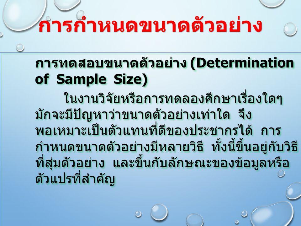 การกำหนดขนาดตัวอย่าง การทดสอบขนาดตัวอย่าง (Determination of Sample Size) ในงานวิจัยหรือการทดลองศึกษาเรื่องใดๆ มักจะมีปัญหาว่าขนาดตัวอย่างเท่าใด จึง พอ