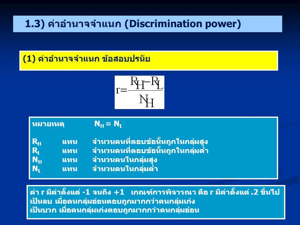 หมายเหตุ N H = N L R H แทนจำนวนคนที่ตอบข้อนั้นถูกในกลุ่มสูง R L แทนจำนวนคนที่ตอบข้อนั้นถูกในกลุ่มต่ำ N H แทนจำนวนคนในกลุ่มสูง N L แทนจำนวนคนในกลุ่มต่ำ ค่า r มีค่าตั้งแต่ -1 จนถึง +1 เกณฑ์การพิจารณา คือ r มีค่าตั้งแต่.2 ขึ้นไป เป็นลบ เมื่อคนกลุ่มอ่อนตอบถูกมากกว่าคนกลุ่มเก่ง เป็นบวก เมื่อคนกลุ่มเก่งตอบถูกมากกว่าคนกลุ่มอ่อน 1.3) ค่าอำนาจจำแนก (Discrimination power) (1) ค่าอำนาจจำแนก ข้อสอบปรนัย