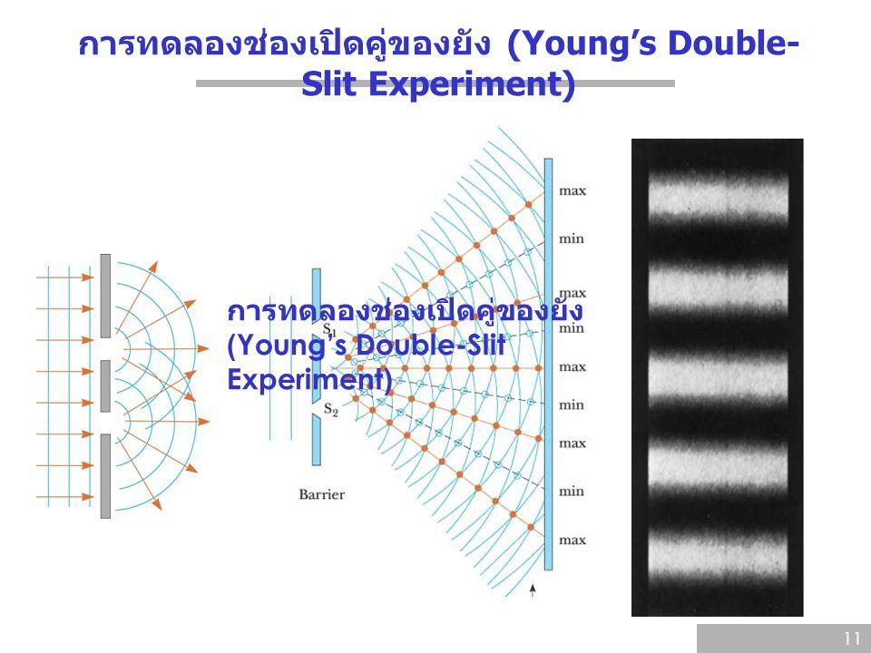 การทดลองช่องเปิดคู่ของยัง (Young's Double- Slit Experiment) 11 การทดลองช่องเปิดคู่ของยัง (Young's Double-Slit Experiment)