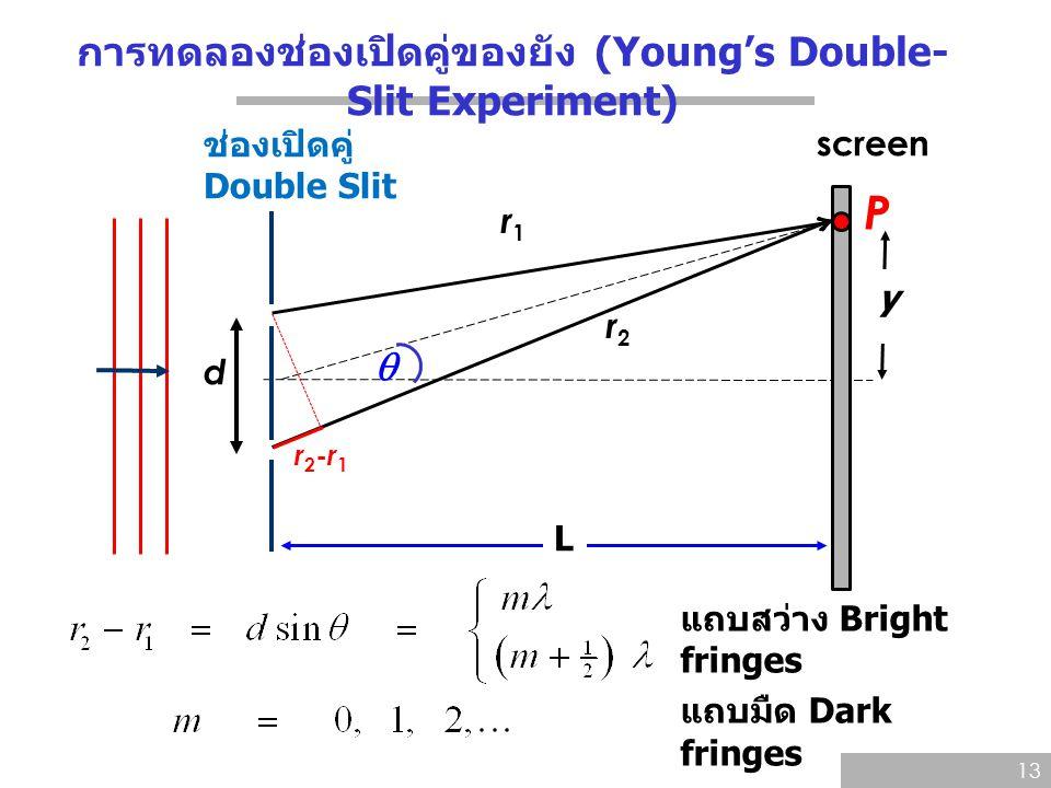 การทดลองช่องเปิดคู่ของยัง (Young's Double- Slit Experiment) 13 ช่องเปิดคู่ Double Slit d screen P y L  แถบสว่าง Bright fringes แถบมืด Dark fringes r1