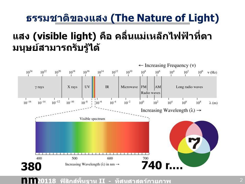 ธรรมชาติของแสง (The Nature of Light) 01420118 ฟิสิกส์พื้นฐาน II - ทัศนศาสตร์กายภาพ 3 แสง มีสมบัติทวิภาค (duality) Light exhibits the characteristics of a wave in some situations and the characteristics of a particle in other situations. แสงแสดงสมบัติของ คลื่น ในบาง สถานะการณ์ และแสดงสมบัติของ อนุภาค ในบางสถานะการณ์
