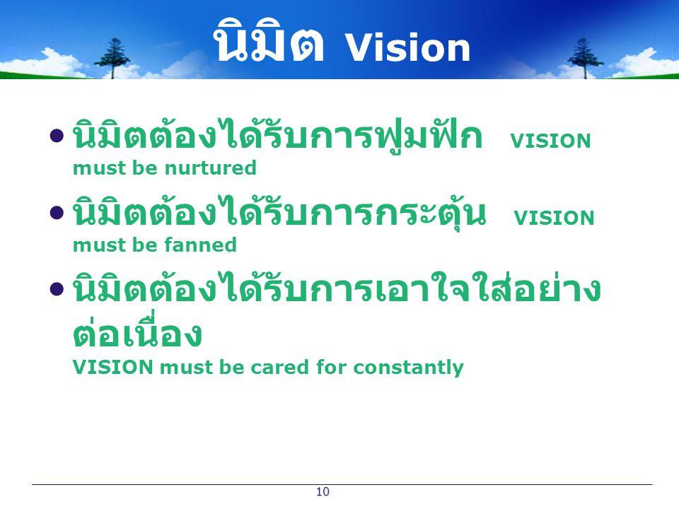 10 นิมิตต้องได้รับการฟูมฟัก VISION must be nurtured นิมิตต้องได้รับการกระตุ้น VISION must be fanned นิมิตต้องได้รับการเอาใจใส่อย่าง ต่อเนื่อง VISION m