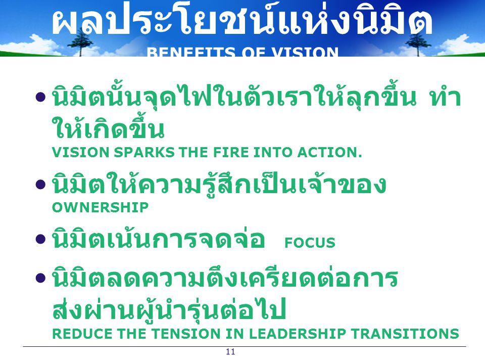 11 ผลประโยชน์แห่งนิมิต BENEFITS OF VISION นิมิตนั้นจุดไฟในตัวเราให้ลุกขึ้น ทำ ให้เกิดขึ้น VISION SPARKS THE FIRE INTO ACTION. นิมิตให้ความรู้สึกเป็นเจ