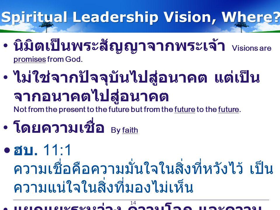 Spiritual Leadership Vision, Where? นิมิตเป็นพระสัญญาจากพระเจ้า Visions are promises from God. ไม่ใช่จากปัจจุบันไปสู่อนาคต แต่เป็น จากอนาคตไปสู่อนาคต