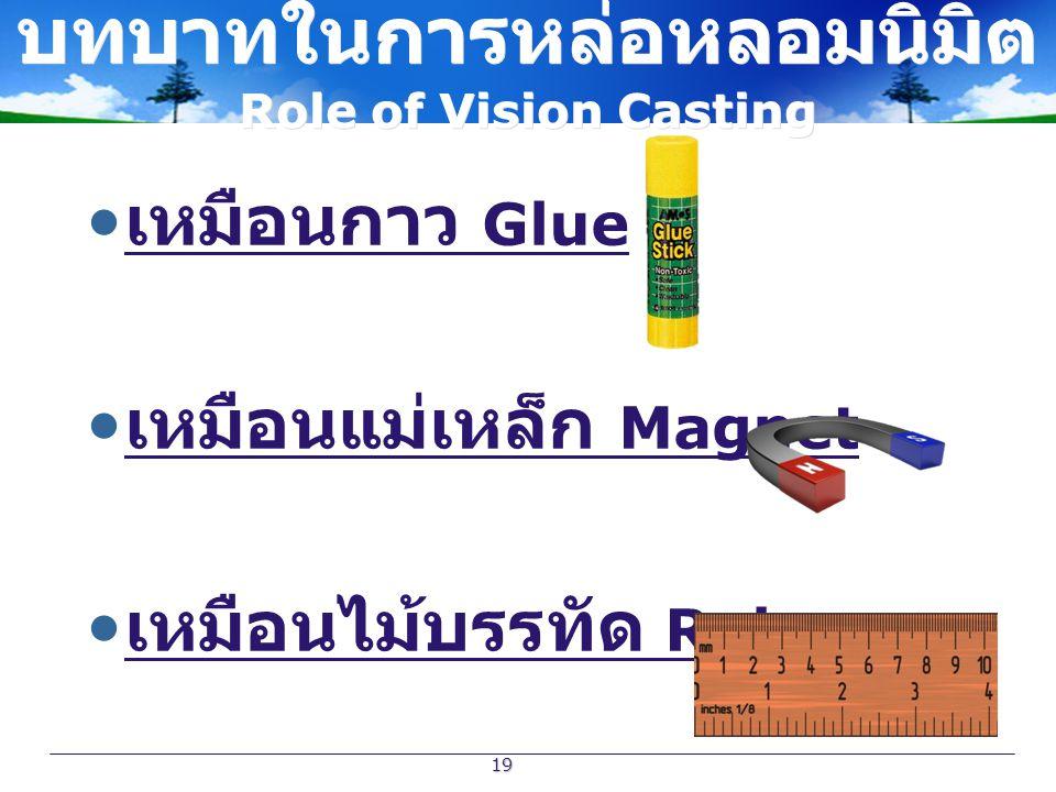 19 บทบาทในการหล่อหลอมนิมิต Role of Vision Casting เหมือนกาว Glue ( เหมือนแม่เหล็ก Magnet. เหมือนไม้บรรทัด Ruler.