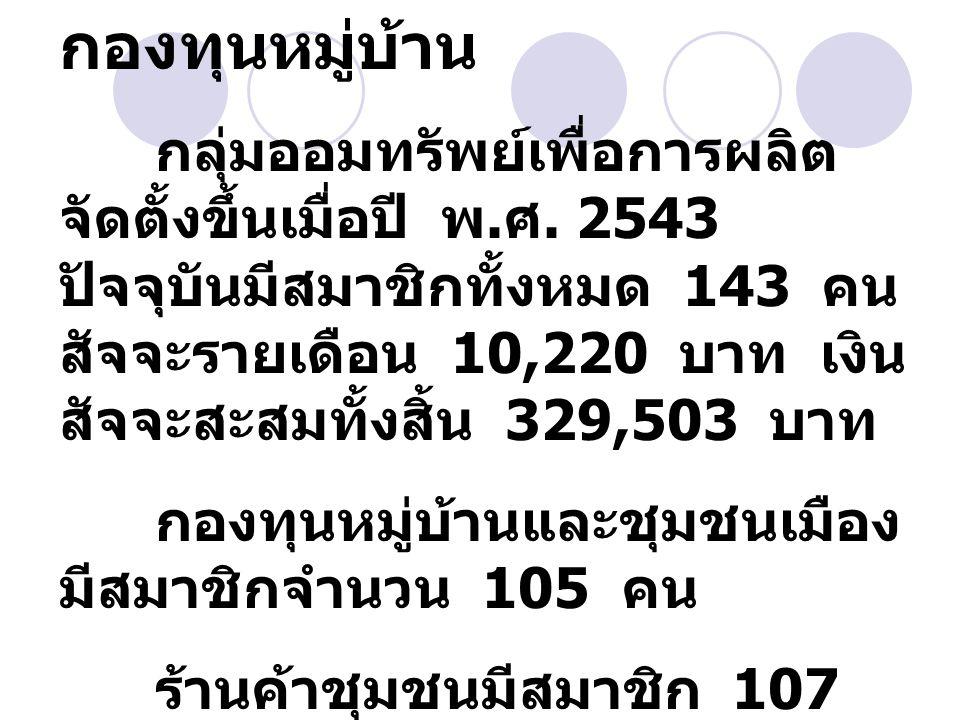 กองทุนหมู่บ้าน กลุ่มออมทรัพย์เพื่อการผลิต จัดตั้งขึ้นเมื่อปี พ. ศ. 2543 ปัจจุบันมีสมาชิกทั้งหมด 143 คน สัจจะรายเดือน 10,220 บาท เงิน สัจจะสะสมทั้งสิ้น