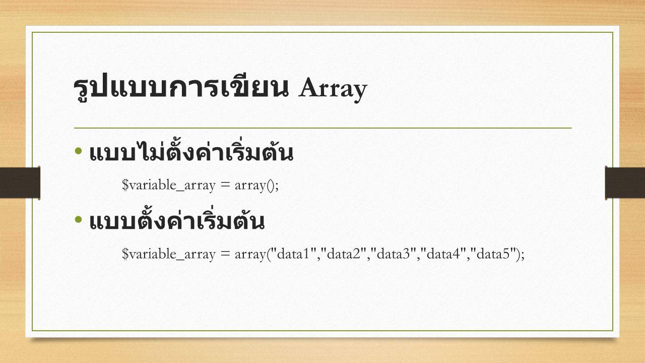 รูปแบบการเขียน Array แบบไม่ตั้งค่าเริ่มต้น $variable_array = array(); แบบตั้งค่าเริ่มต้น $variable_array = array( data1 , data2 , data3 , data4 , data5 );