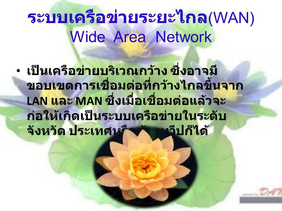 ระบบเครือข่ายระยะไกล (WAN) Wide Area Network เป็นเครือข่ายบริเวณกว้าง ซึ่งอาจมี ขอบเขตการเชื่อมต่อที่กว้างไกลขึ้นจาก LAN และ MAN ซึ่งเมื่อเชื่อมต่อแล้