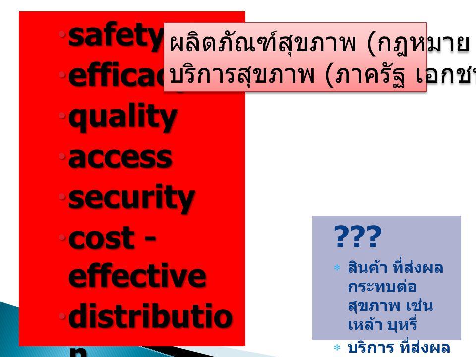  safety  efficacy  quality  access  security  cost - effective  distributio n  rational use ???  สินค้า ที่ส่งผล กระทบต่อ สุขภาพ เช่น เหล้า บ