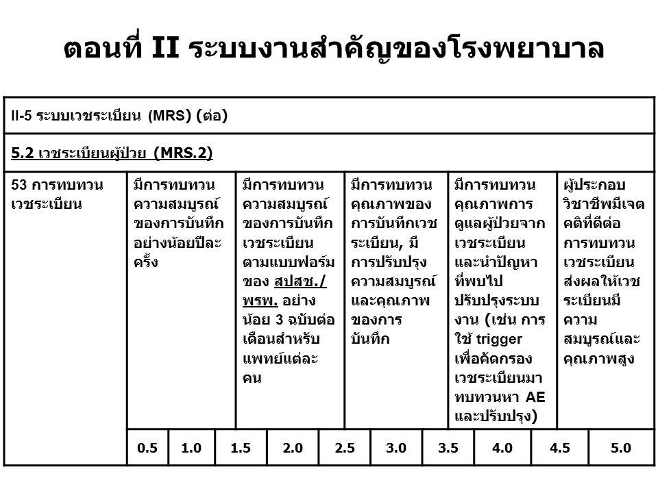 ตอนที่ II ระบบงานสำคัญของโรงพยาบาล II-5 ระบบเวชระเบียน (MRS) ( ต่อ ) 5.2 เวชระเบียนผู้ป่วย (MRS.2) 53 การทบทวน เวชระเบียน มีการทบทวน ความสมบูรณ์ ของกา