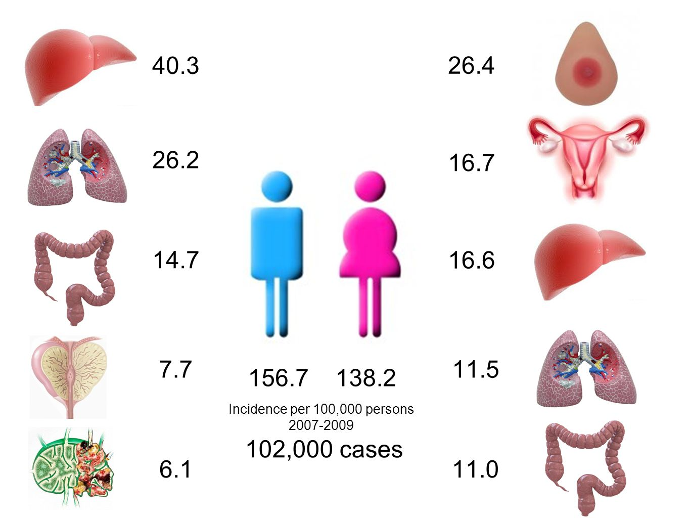 Top 5 Cancer trends Female Years Cancer in Thailand 1990-2009 26.4 16.7 16.6 11.5 11