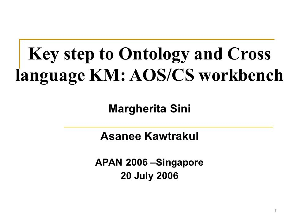 1 Margherita Sini Asanee Kawtrakul APAN 2006 –Singapore 20 July 2006 Key step to Ontology and Cross language KM: AOS/CS workbench