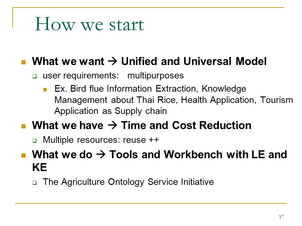 17 How we start What we want  Unified and Universal Model  user requirements: multipurposes Ex.