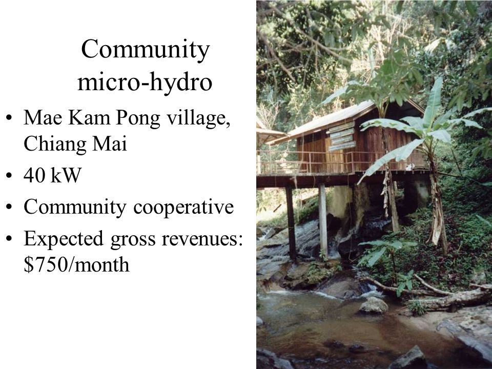 Community micro-hydro Mae Kam Pong village, Chiang Mai 40 kW Community cooperative Expected gross revenues: $750/month