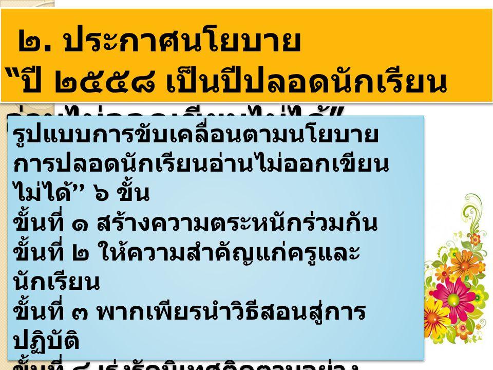 ๑ ) เพื่อลดปัญหาการทุจริตใน สังคมไทยและยกระดับคุณธรรม จริยธรรมของคนไทยให้สูงขึ้น ๒ ) เพื่อสร้างเครือข่ายป้องกัน และปราบปรามการทุจริตในกลุ่ม ผู้บริหาร ครู บุคลากรทางการศึกษา ผู้ปกครองและประชาชนทั่วไป ๓ ) เพื่อให้สำนักงานเขตพื้นที่ การศึกษาและโรงเรียนในสังกัด นำ ยุทธศาสตร์ชาติว่าด้วยการป้องกัน และปราบปรามการทุจริต และความ โปร่งใสของปปช.