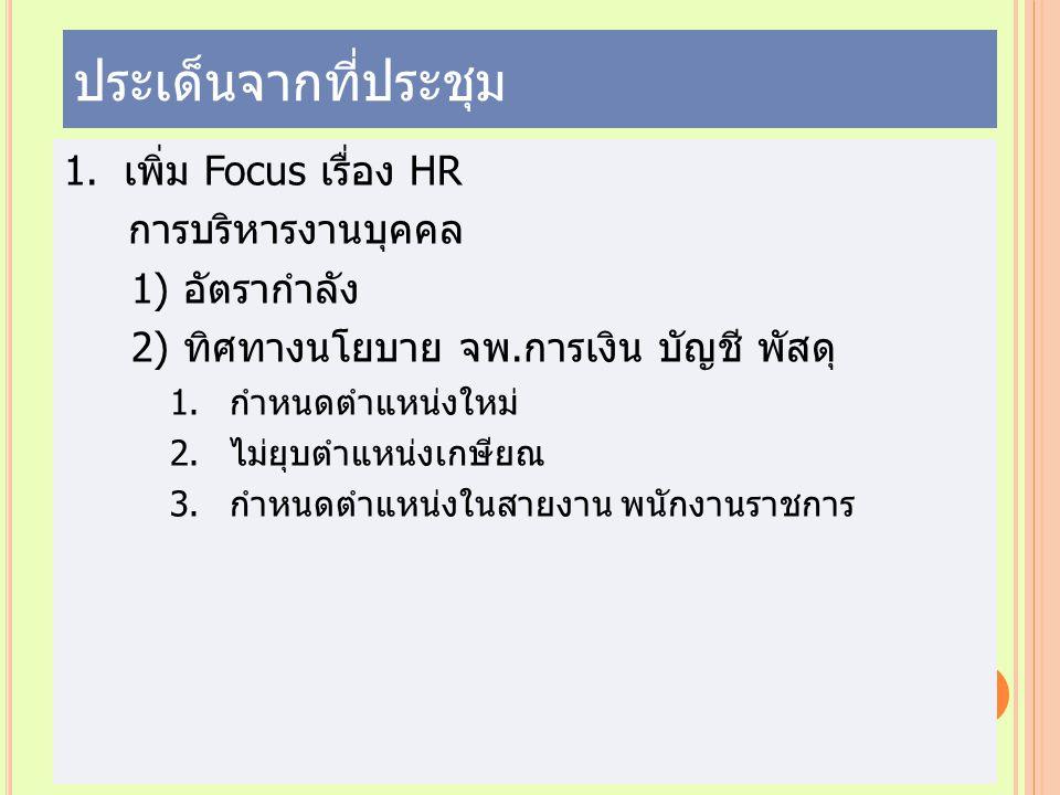 ประเด็นจากที่ประชุม 1.เพิ่ม Focus เรื่อง HR การบริหารงานบุคคล 1) อัตรากำลัง 2) ทิศทางนโยบาย จพ.การเงิน บัญชี พัสดุ 1.กำหนดตำแหน่งใหม่ 2.ไม่ยุบตำแหน่งเ