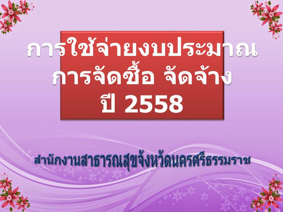 การใช้จ่ายงบประมาณ การจัดซื้อ จัดจ้าง ปี 2558 การใช้จ่ายงบประมาณ การจัดซื้อ จัดจ้าง ปี 2558