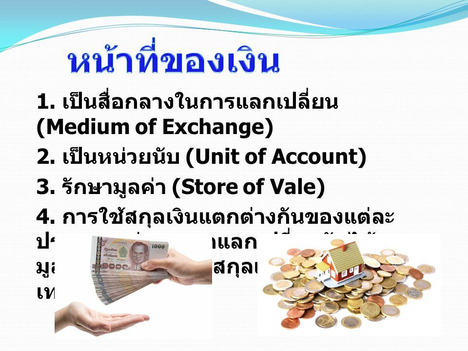 1. เป็นสื่อกลางในการแลกเปลี่ยน (Medium of Exchange) 2. เป็นหน่วยนับ (Unit of Account) 3. รักษามูลค่า (Store of Vale) 4. การใช้สกุลเงินแตกต่างกันของแต่