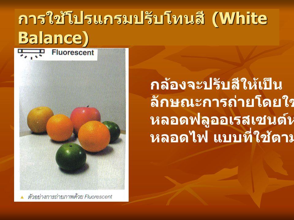 การใช้โปรแกรมปรับโทนสี (White Balance) กล้องจะปรับสีให้เป็น ลักษณะการถ่ายโดยใช้แสงจาก หลอดฟลูออเรสเซนต์หรือ หลอดไฟ แบบที่ใช้ตามบ้าน