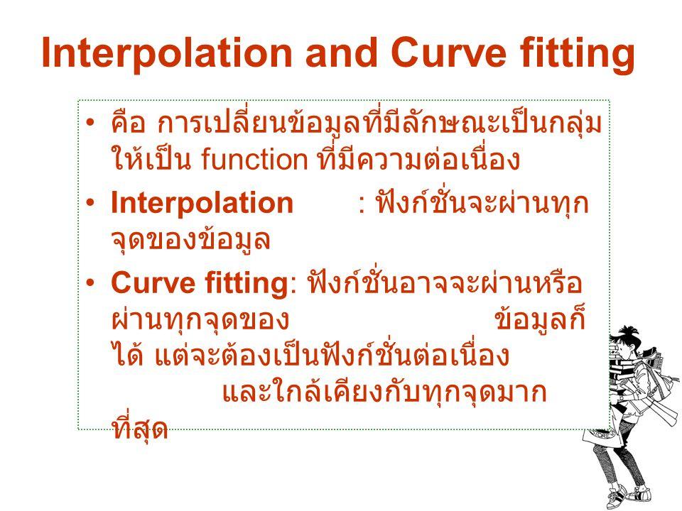 Interpolation and Curve fitting คือ การเปลี่ยนข้อมูลที่มีลักษณะเป็นกลุ่ม ให้เป็น function ที่มีความต่อเนื่อง Interpolation : ฟังก์ชั่นจะผ่านทุก จุดของ