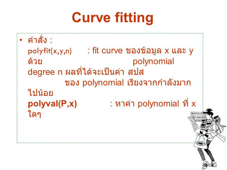 Curve fitting คำสั่ง : polyfit(x,y,n) : fit curve ของข้อมูล x และ y ด้วย polynomial degree n ผลที่ได้จะเป็นค่า สปส ของ polynomial เรียงจากกำลังมาก ไปน