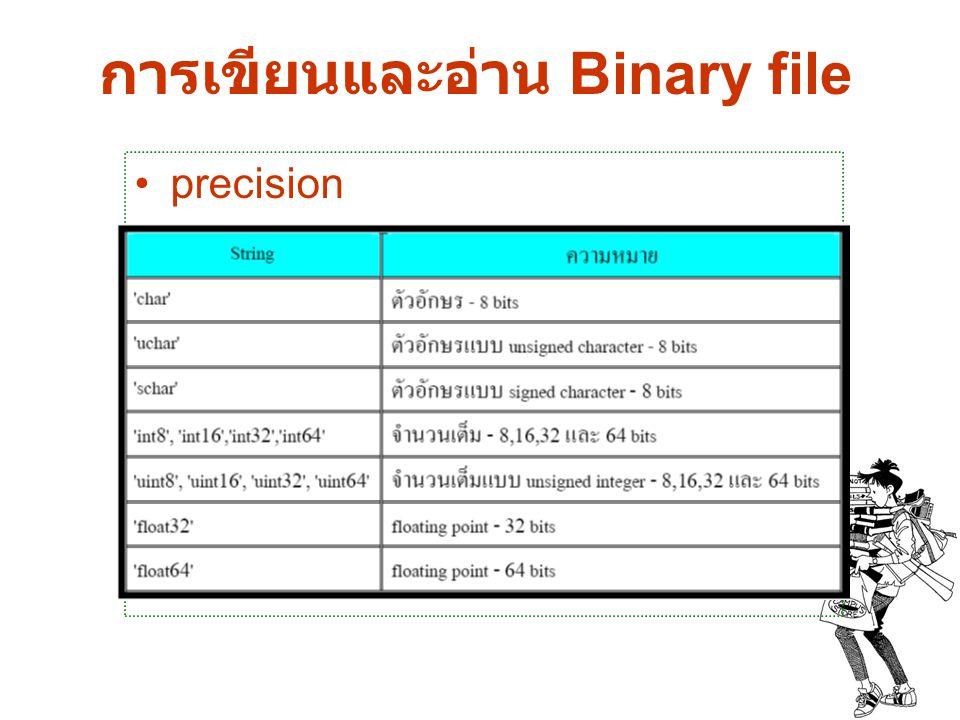 การเขียนและอ่าน Binary file precision