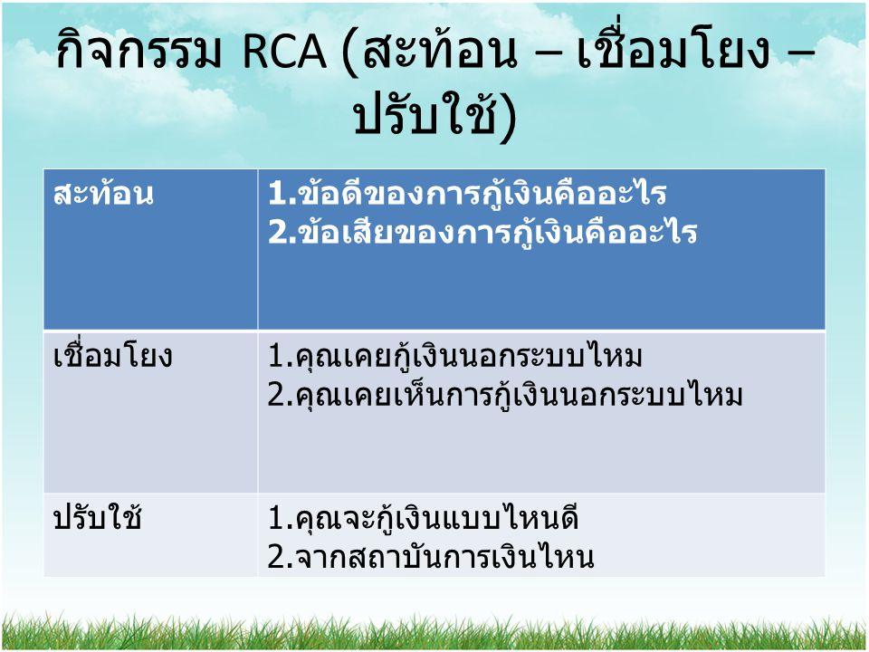 กิจกรรม RCA ( สะท้อน – เชื่อมโยง – ปรับใช้ ) สะท้อน 1. ข้อดีของการกู้เงินคืออะไร 2. ข้อเสียของการกู้เงินคืออะไร เชื่อมโยง 1. คุณเคยกู้เงินนอกระบบไหม 2