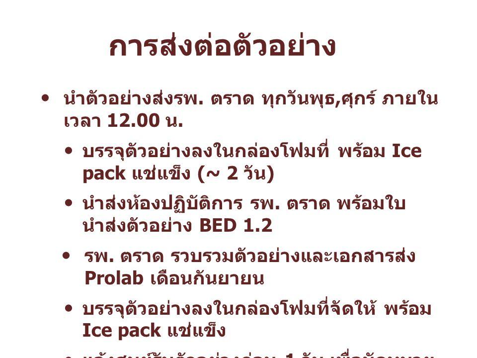 การส่งต่อตัวอย่าง นำตัวอย่างส่งรพ. ตราด ทุกวันพุธ, ศุกร์ ภายใน เวลา 12.00 น. บรรจุตัวอย่างลงในกล่องโฟมที่ พร้อม Ice pack แช่แข็ง (~ 2 วัน ) นำส่งห้องป