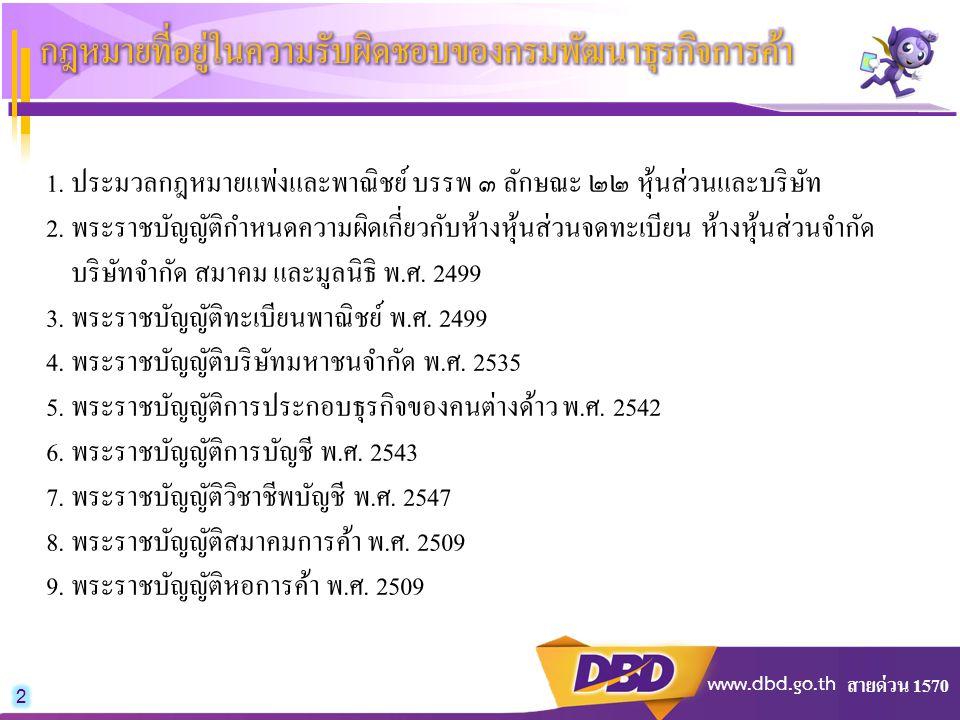 สายด่วน 1570 www.dbd.go.th 1. ประมวลกฎหมายแพ่งและพาณิชย์ บรรพ ๓ ลักษณะ ๒๒ หุ้นส่วนและบริษัท 2. พระราชบัญญัติกำหนดความผิดเกี่ยวกับห้างหุ้นส่วนจดทะเบียน