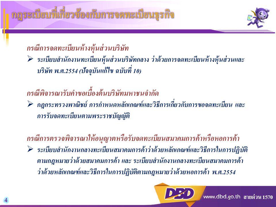 สายด่วน 1570 www.dbd.go.th กรณีการจดทะเบียนห้างหุ้นส่วนบริษัท  ระเบียบสำนักงานทะเบียนหุ้นส่วนบริษัทกลาง ว่าด้วยการจดทะเบียนห้างหุ้นส่วนและ บริษัท พ.