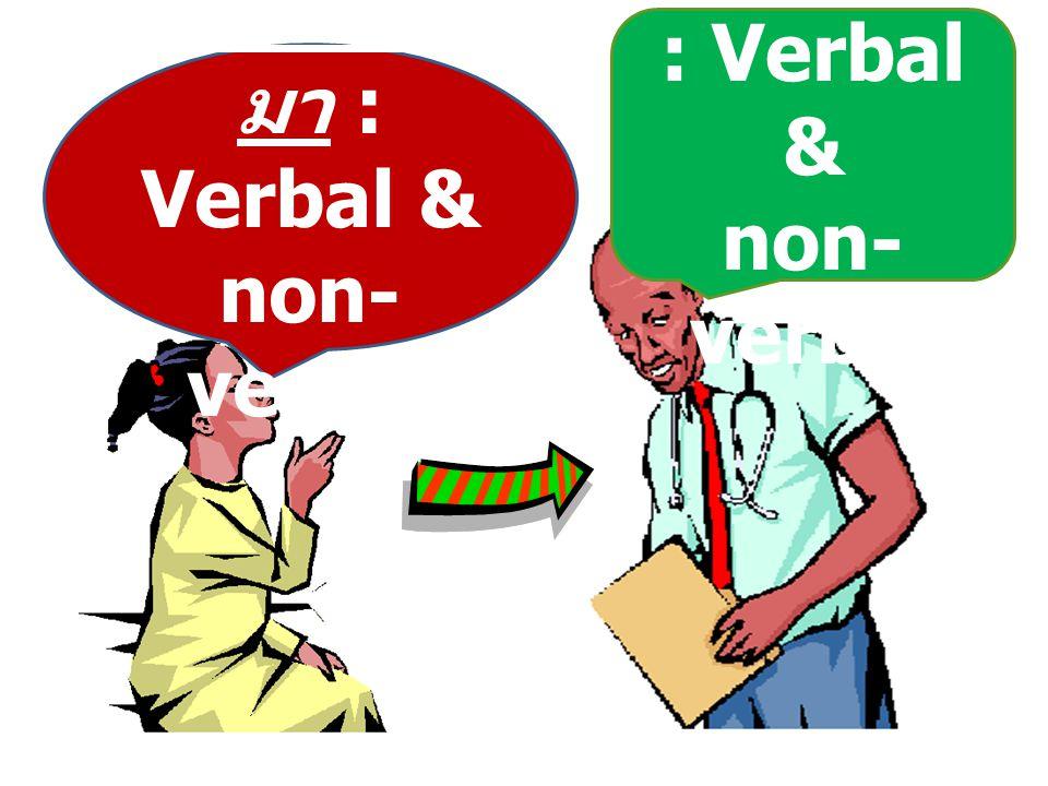 สารที่ส่ง มา : Verbal & non- verbal ตอบสนอง : Verbal & non- verbal