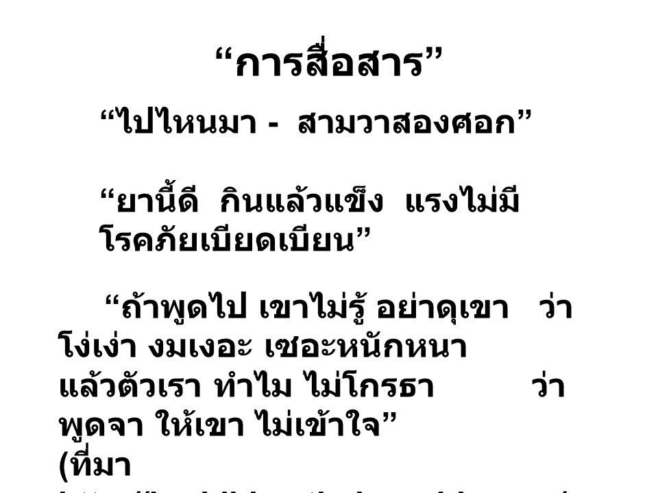 """"""" การสื่อสาร """" """" ถ้าพูดไป เขาไม่รู้ อย่าดุเขา ว่า โง่เง่า งมเงอะ เซอะหนักหนา แล้วตัวเรา ทำไม ไม่โกรธา ว่า พูดจา ให้เขา ไม่เข้าใจ """" ( ที่มา http://budd"""
