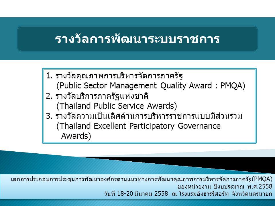 เอกสารประกอบการประชุมการพัฒนาองค์กรตามแนวทางการพัฒนาคุณภาพการบริหารจัดการภาครัฐ(PMQA) ของหน่วยงาน ปีงบประมาณ พ.ศ.2558 วันที่ 18-20 มีนาคม 2558 ณ โรงแร
