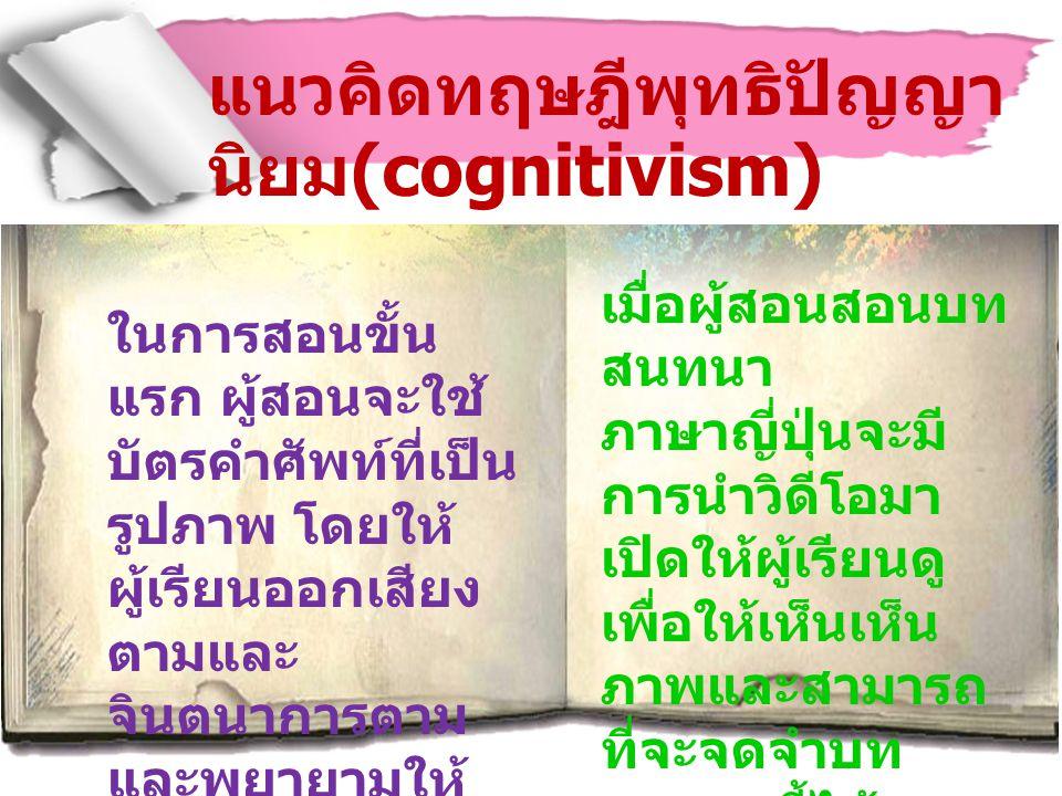 แนวคิดทฤษฎีพุทธิปัญญา นิยม (cognitivism) ในการสอนขั้น แรก ผู้สอนจะใช้ บัตรคำศัพท์ที่เป็น รูปภาพ โดยให้ ผู้เรียนออกเสียง ตามและ จินตนาการตาม และพยายามใ