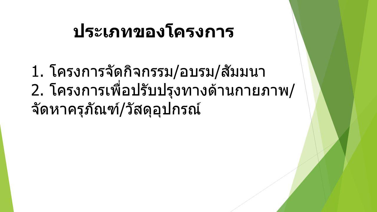 ประเภทของโครงการ 1. โครงการจัดกิจกรรม / อบรม / สัมมนา 2. โครงการเพื่อปรับปรุงทางด้านกายภาพ / จัดหาครุภัณฑ์ / วัสดุอุปกรณ์