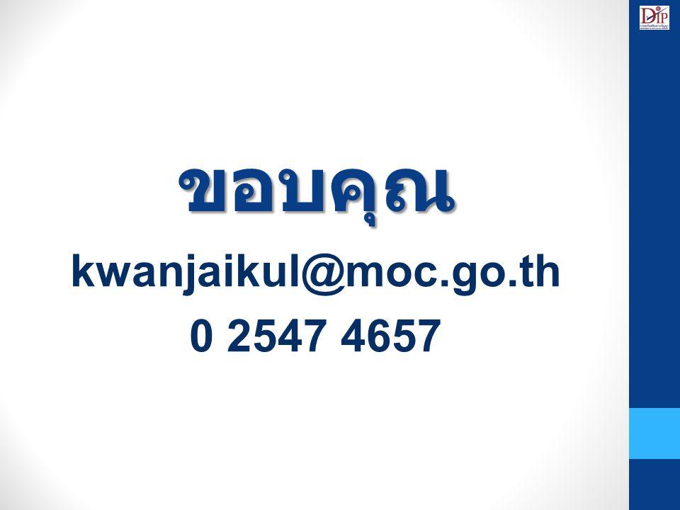 ขอบคุณ kwanjaikul@moc.go.th 0 2547 4657 16