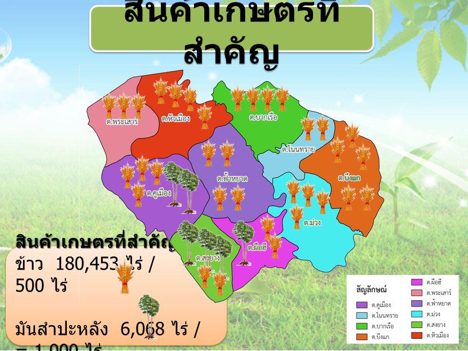 สินค้าเกษตรที่สำคัญ ข้าว 180,453 ไร่ / = 500 ไร่ มันสำปะหลัง 6,068 ไร่ / = 1,000 ไร่สินค้าเกษตรที่สำคัญ ข้าว 180,453 ไร่ / = 500 ไร่ มันสำปะหลัง 6,068