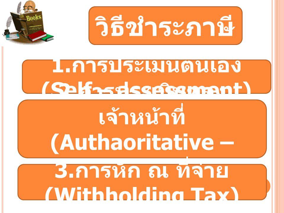 วิธีชำระภาษี 1. การประเมินตนเอง (Self – assessment) 2. การประเมินของ เจ้าหน้าที่ (Authaoritative – assessment) 3. การหัก ณ ที่จ่าย (Withholding Tax)