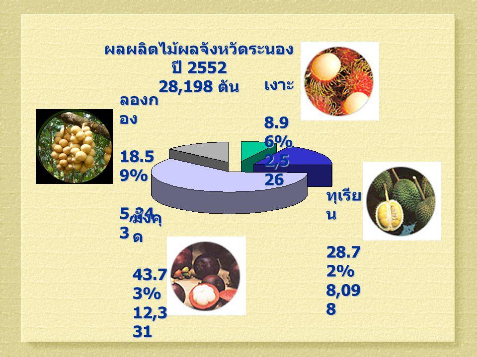 ผลผลิตไม้ผลจังหวัดระนอง ปี 2552 28,198 ตัน ลองก อง 18.5 9% 18.5 9% 5,24 3 5,24 3 ทุเรีย น 28.7 2% 28.7 2% 8,09 8 มังคุ ด 43.7 3% 43.7 3% 12,3 31 เงาะ