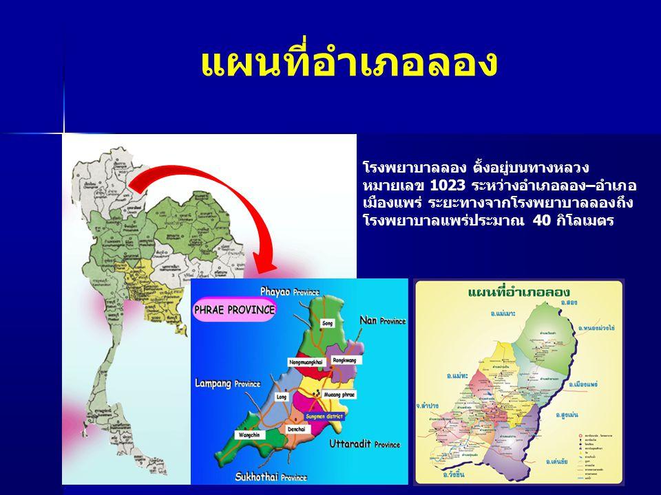 แผนที่อำเภอลอง โรงพยาบาลลอง ตั้งอยู่บนทางหลวง หมายเลข 1023 ระหว่างอำเภอลอง–อำเภอ เมืองแพร่ ระยะทางจากโรงพยาบาลลองถึง โรงพยาบาลแพร่ประมาณ 40 กิโลเมตร