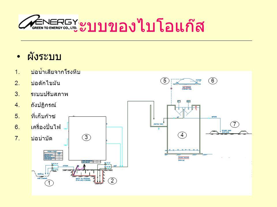 ระบบของไบโอแก๊ส ผังระบบ 1 2 4 56 7 1. บ่อน้ำเสียจากโรงหีบ 2. บ่อดักไขมัน 3. ระบบปรับสภาพ 4. ถังปฏิกรณ์ 5. ที่เก็บก๊าซ 6. เครื่องปั่นไฟ 7. บ่อบำบัด 3