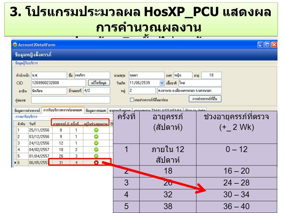 3. โปรแกรมประมวลผล HosXP_PCU แสดงผล การคำนวณผลงาน ฝากท้อง 5 ครั้ง ไม่ถูกต้อง 3. โปรแกรมประมวลผล HosXP_PCU แสดงผล การคำนวณผลงาน ฝากท้อง 5 ครั้ง ไม่ถูกต