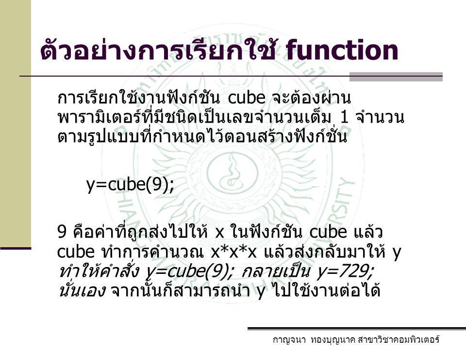 กาญจนา ทองบุญนาค สาขาวิชาคอมพิวเตอร์ พารามิเตอร์ / กฎการ ใช้งาน parameter หมายถึงข้อมูลเพิ่มเติมที่ ฟังก์ชั่นต้องการ โดยฟังก์ชั่นที่เรียกใช้ จะต้องส่งให้กับฟังก์ชั่น ตัวอย่าง int cube(int x) ฟังก์ชั่น cube ต้องการข้อมูลชนิดเลขจำนวน เต็ม 1 ตัว เพื่อนำมาคำนวณ ในกรณีที่ฟังก์ชั่นไม่ต้องการพารามิเตอร์ ให้ ใช้ ( ) ข้อกำหนด : ชนิด และจำนวนของ พารามิเตอร์ ทั้งที่ จุดเรียกใช้ และที่ฟังก์ชั่น จะต้องเป็นชนิดเดียวกัน และมีจำนวน เท่ากัน เสมอ
